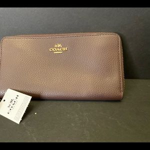 Coach Acordian Brown Wallet